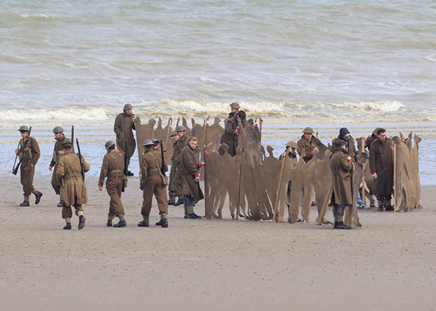 Filming takes place on the Christopher Nolan directed war movie 'Dunkirk' in the exact spot where, 76 years ago to this week, 100,000 soldiers were evacuated. During filming a number of locals were stopped from entering the beach with one person in a land yacht coming very close to driving straight across the set. Three warships circled off the coast adding to the war-like atmosphere while cast members held up cutouts of soldiers to create the illusion of more people in battle. Featuring: Atmosphere Where: Dunkirk, France When: 23 May 2016 Credit: WENN.com