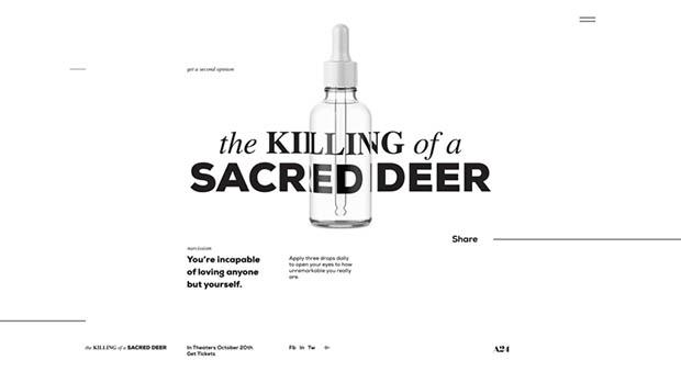 Új Egy szent szarvas meggyilkolása poszter + weboldal